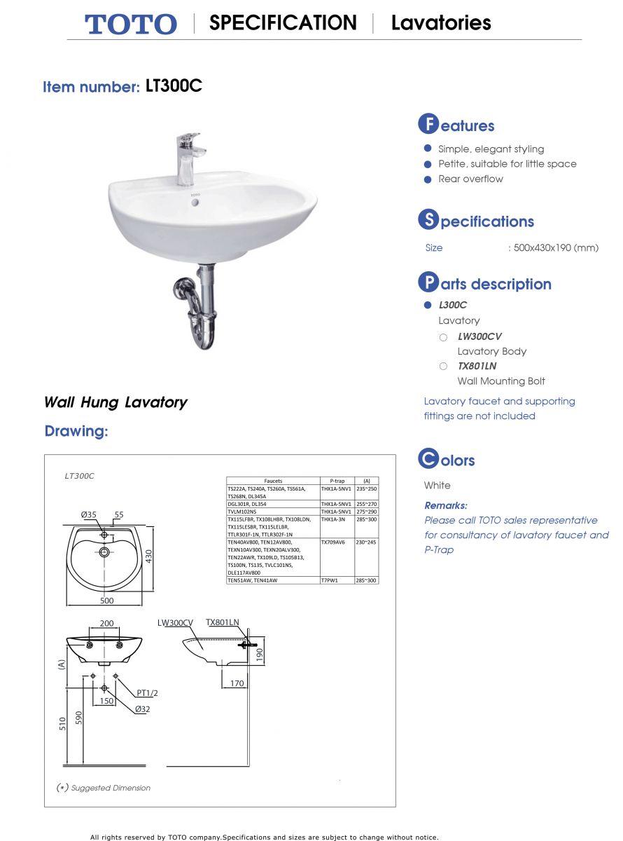 lavabo TOTO LT300C